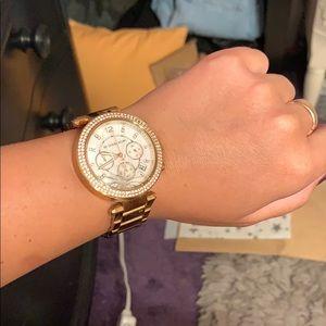 Gold Michael Kors with diamonds womens link watch